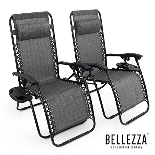 BELLEZZA© Premium Patio Chairs Zero Gravity Folding Recliner and Drink Tray, Set of 2, Gray
