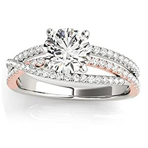 Diamond Accented Split Shank Engagement Ring Setting, Prong Set in 14k Two Tone Gold w/ 0.25ct