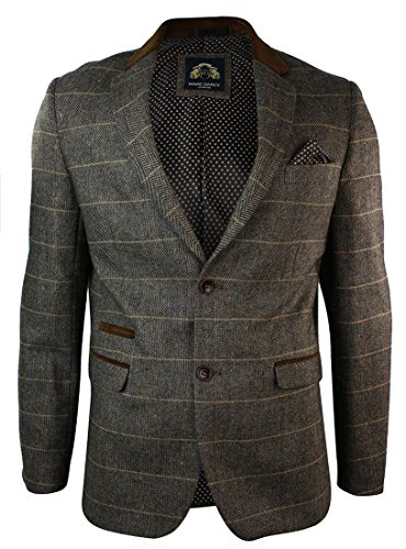 Mens-Check-Vintage-Herringbone-Tweed-Tan-Brown-Blazer-Jacket-Fitted
