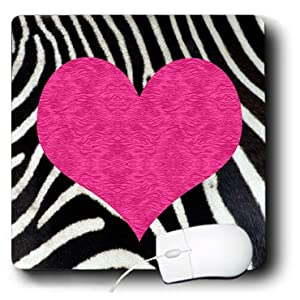 3dRose LLC Punk Rockabilly Zebra Animal Stripe Pink Heart Print - Mouse Pad (mp_20393_1)