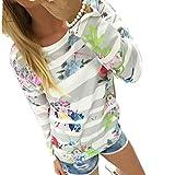 WOCACHI Damen gestreifte Blumendruck -Sweatshirt...