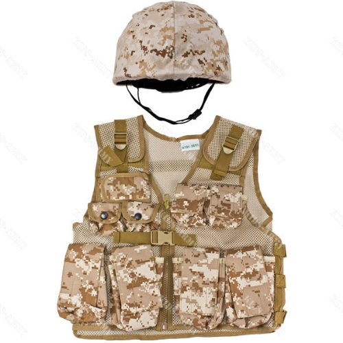 Kids-Army Helmet & Combat Vest Combo - Desert Digital Camouflage front-754647