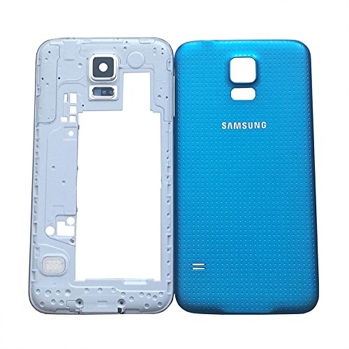 2in1 Middle Frame Bezel Plate Camera Panel Housing with Back Cover Battery Door Housing Replacement for Samsung Galaxy S5 V (SM-G900H_EUR_XX Silver/Blue) (S5 Back Cover Replacement Gold compare prices)