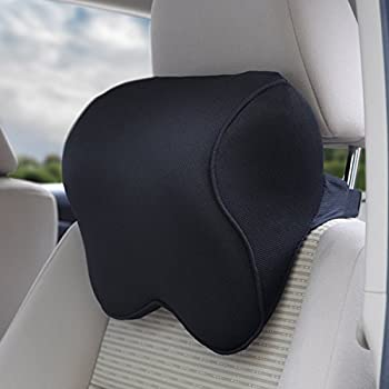 Dreamer Car Mid-hard Memory Foam Car Seat Head Pillow Neck Pillow With Adjustable Elastic Strap(Black)