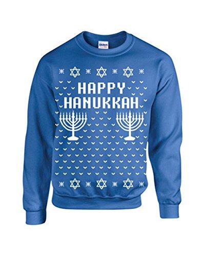 Jacted Up Tees Happy Hanukkah Ugly Sweater Design CREW Sweatshirt - Med Royal Blue (B109)