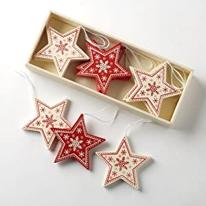 Vintage Style Red/Cream Wooden Star Shapes Christmas Tree Decorations ...