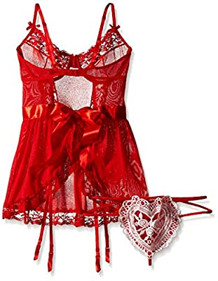 Dreamgirl Women's Heart Pocket Apron Babydoll and Panty