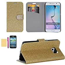 buy S6 Edge Case, Superior Pu Leather Wallet Case [Card Slots] Sparkle Bling Surface Fitted Shell Stand Folding Magnetic Cover Extreme Lightweight Slim Skin For Samsung Galaxy S6 Edge (Orange)