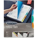 Wilson Jones View-Tab Transparent Dividers, 5-Tab, 8.5 x 11 Inch Sheet Size, Square Multicolor Tabs, 5-Pack (5 sets of 5-Tab Dividers) (W55565)