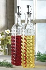 Home Elements Hobnail Oil and Vinegar Cruet Bottles - Set of 2