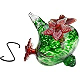 HUMMINGBIRD FEEDER - Hand-Blown Glass Feeders | Green Bouquet Cap with Red Flowers | Can Also Be A Nice Vase | Holds 16 ounces of Nectar | LOVE our Feeders or 100% MONEY BACK GUARANTEE (by Best Home Products)