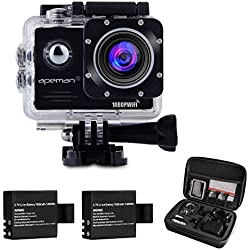 APEMAN A70 WIFI 14MP Full HD Sport Action Camera Impermeabile con 2 batterie e kit accessory inclusi (Nero)