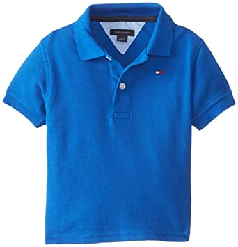 Tommy Hilfiger Baby-Boys Infant Short Sleeve Ivy Polo, Blue Jean, 12 Months