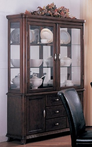 Cheap China Cabinet Buffet Hutch Contemporary Style Cherry Finish (VF_3654)