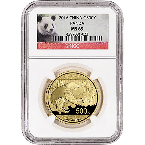 2016 CN China Gold Panda (30 g) Red Panda Label 500 Yuan MS69 NGC