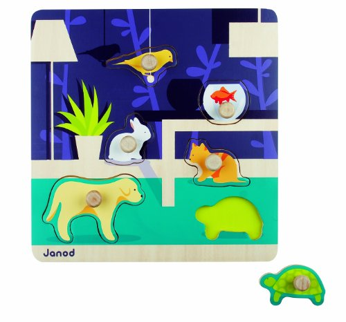 Janod Happy Animo' Animal Wooden Peg Puzzle - 1