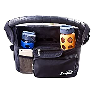 Stroller Organizer By ZenKid®- Best Stroller Accessory & Universal Stroller Bag ● Insulated Stroller Cup & Bottle Holders ● Perfect Product & Parent Console + Diaper Bag ● Ideal Baby Shower Gift For New Parents ● 100% Lifetime Guarantee