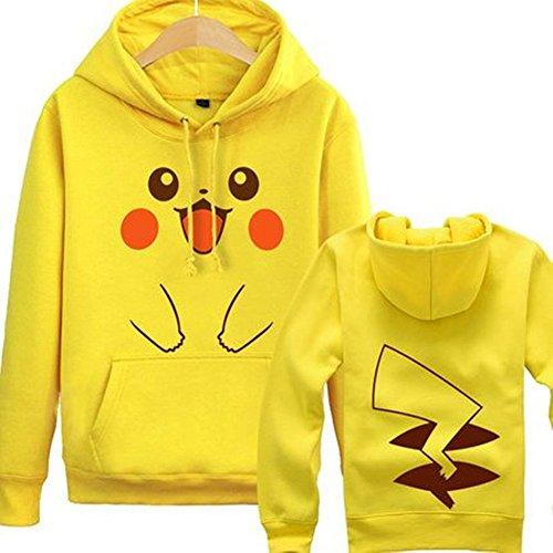 Unisex-adult Pokemon Pikachu Printed Fleece Yellow Hoodie XL