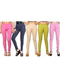 Comix Cotton Hosiery Fabric Women Legging Combo Set Of 5