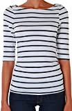 Humble Chic Womens Classic Striped Tee - Black - LARGE - Short Sleeve Jersey Knit T-Shirt