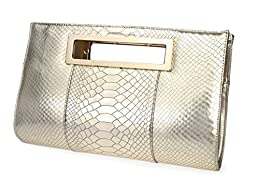 Hoxis New Color Crocodile Pattern Faux Patent Leather Cut it out Clutch with Shoulder Strap Womens Handbag (Metallic)