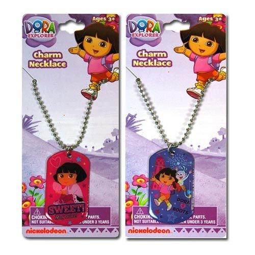 "2pk Dora The Explorer Dogtag Necklace 18"""