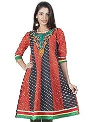 Zovi Women's Cotton Orange And Black Printed Anarkali Kurti With Embroidery (10706352901)