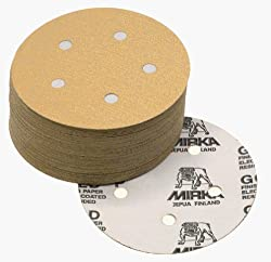"Mirka 23-624-120 6"" 6-Hole 120 Grit Dustless Hook & Loop Sanding Discs - 50 Pack"
