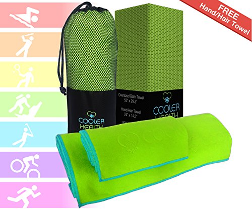 Luxury Microfiber Towel - Oversized Bath Towel + FREE Hand / Hair Towel & FREE Compact Bag - Super Soft - Absorbent - Fast Drying - Large Set Best for Gym Beach Yoga Travel