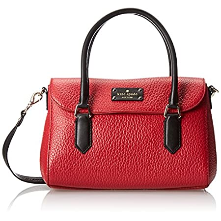 Kate Spade PXRU5183-618 New York Grove Court Small Leslie women's shoulder bag features a magnetic snap flap closure shoulder bag with adjustable crossbody shoulder strap and magnetic snap closure made of large pebbled cowhide genuine dynasty red and...