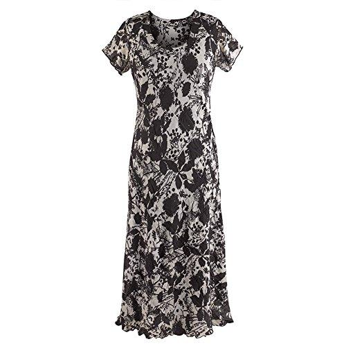 Women's Maxi Dress - Simply Beautiful Black And Gray Design - Short Sleeve - 2X