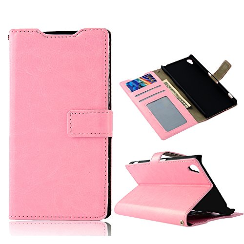Z3 Case, Sony Xperia Z3 Case - Mollycoocle Fashion Style Colorful Wallet Style Credit Card Holder Case Magnetic Design Flip Folio Pu Leather Cover Standup Cover Case For Sony Xperia Z3(Pink)