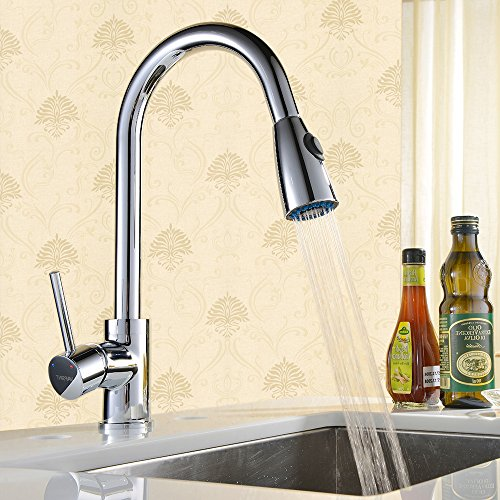 Chrome Single Lever Swan Swivel Kitchen Sink Mixer Taps With Pull Out