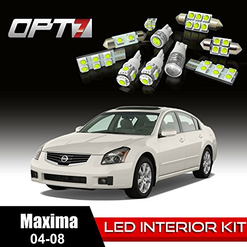 Opt7 18Pc Interior Led Replacement Light Bulbs Package Set For 04-08 Nissan Maxima | White