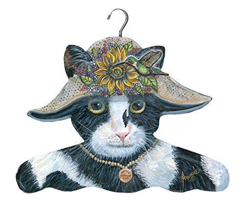 The Stupell Home Decor Collection Black and White Cat with Sunflower Hat Hanger