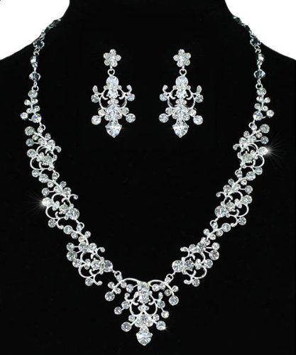 Bridal Vintage Crystal Exquisite Floral Deco Necklace Earrings Set with PreciousBags Dust Bag