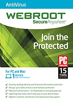 Webroot Antivirus 2016 - 1 Year 1 Device PC [Download]