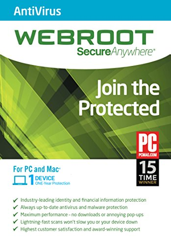 SecureAnywhere AntiVirus 2015 1 Year 1 Device PC