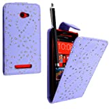 STYLEYOURMOBILE {TM} HTC 8X WINDOWS 8X LILAC CRYSTAL DIAMOND BLING PU LEATHER MAGNETIC FLIP CASE COVER POUCH + TOUCH PEN