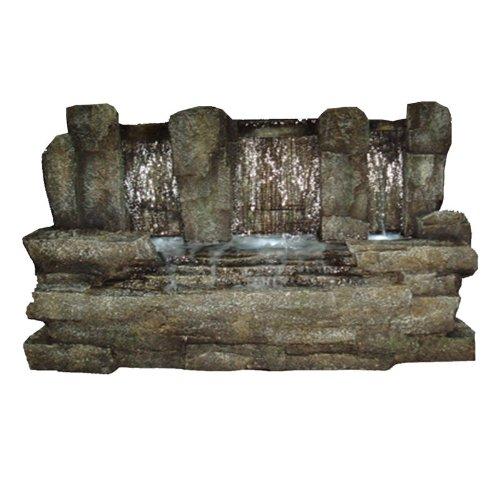 "Yosemite Cw72016 34"" Free Standing Outdoor Three Drop Waterfall Basin Fountain, Stone front-686847"