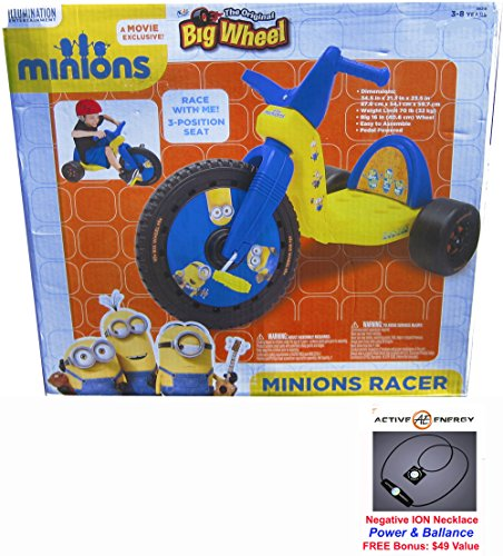 "The Original Big Wheel 16"" Inch Trike MINIONS Movie Exclusive Racer + FREE Bonus: Active Energy Power & Balance Negative ION Necklace $49 Value"
