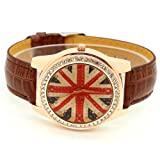Conbays Brown Uk Flag Round Dial Crystal Girl Leather Quartz Wrist Watch Women Gift Luxury