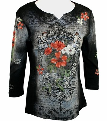 Cactus Fashion 3/4 Sleeve, Rhinestone Studded, Artfully Printed Black Colored Split V-Neck Top - Garden Angel