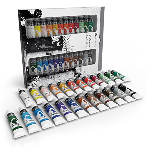 Castle art supplies painting acrylic paints set 24 colors for Acrylic mural paint supplies