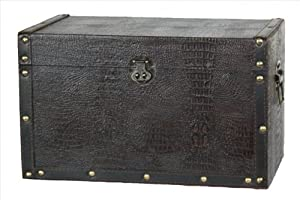 Quickway Imports Decorative Leather Wooden Trunk/Box