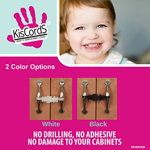 Kiscords Baby Safety Cabinet Locks For Handles Child Safety Cabinet Latches For Home Safety Strap For Baby Proofing Cabinets Kitchen Door RV No Drill No Screw No Adhesive /4 Pack Black