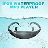 Tayogo Waterproof MP3 Player, IPX8 Waterproof Headphones for Swimming, 8GB Memory Can Download 2000 Songs, Swimming Earbuds, Work for 6-8 Hours Underwater 3 Meters, with Shuffle Feature (Color: mp3-black)