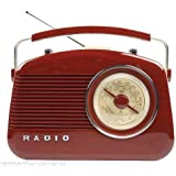 Konig Retro AM/FM Radio with Carry Handle - Glossy Reddish Brown with a Wood Grain Effect and Cream Sides