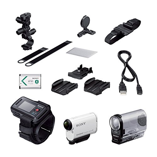 Sony Action Cam HDR-AS200VB - Videocámara deportiva (Full HD, resistente a salpicaduras con WI-FI, NFC, GPS y kit de montaje para bici), blanco