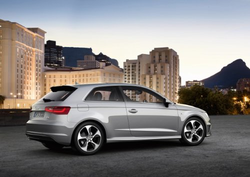 """Audi A3 (2013) Car Art Poster Print On 10 Mil Archival Satin Paper Silver Rear Side Static View 20""""X15"""""""